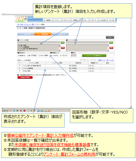 アンケート項目を追加し、回答形式を選択するだけでアンケートを作ることができます。